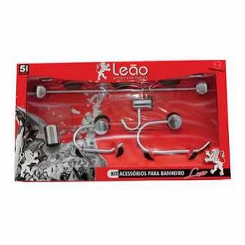 Kit Acessórios Banheiro Metal 5 Peças Luxo 16102 Cromado - Ref. 3595-0 - LEÃO METAIS