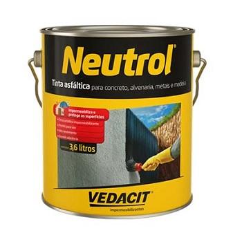 Tinta Betum 3,6 Litros Neutrol 45 Acqua Base Solvente - Ref.121566 - VEDACIT