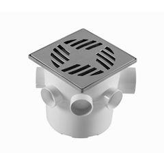 Caixa Sifonada com Grelha Quadrada PVC 150x150x50mm Cromado - Ref. CS6 - ASTRA