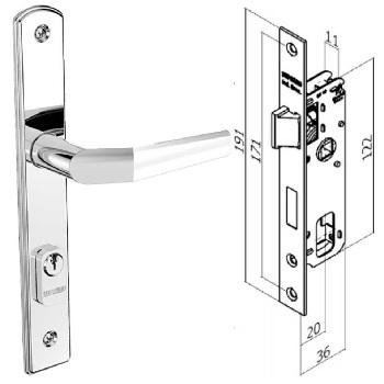 Fechadura Externa Alumínio Espelho Estreito 20x53 Ferro Zincado - Ref.03001.0520.18 - SOPRANO