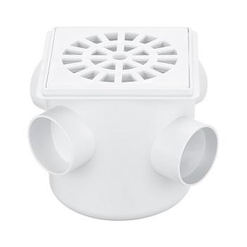 Caixa Sifonada PVC 100x100x40 Grelha Quadrada Branca - Ref. 258 - HERC