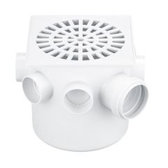 Caixa Sifonada PVC 150x150x50 Grelha Quadrada Branca - Ref. 255 - HERC