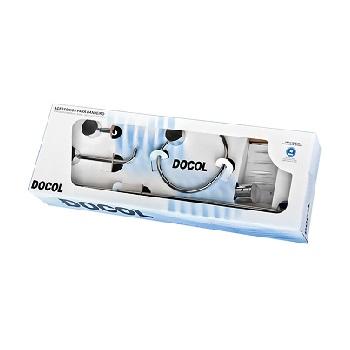 Kit de Acessórios para Banheiro em Metal com 5 Peças Single Cromado - Ref. 00183106 - DOCOL
