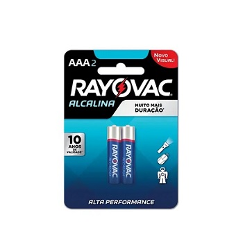 Pilha AAA Palito com 2 Unidades LR03 Alcalina - Ref.20912 - RAYOVAC