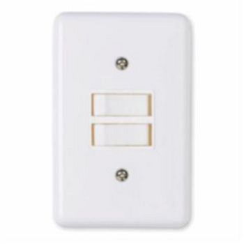 Interruptor 4x2 2 Teclas Simples 6A Stylus Branco - Ref.2018 - ILUMI