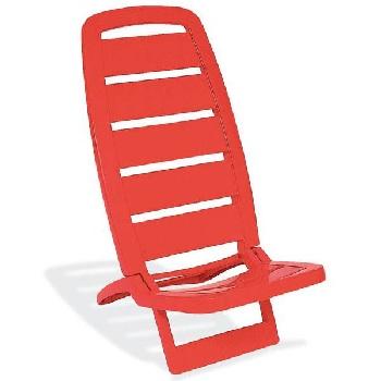 Cadeira de Praia Plástica Guarujá Vermelha - Ref.92051/040 - TRAMONTINA
