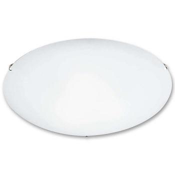 Plafon de Aço 60w 25cm Clean Vidro Branco Transparente - Ref. CL725PBN - BRONZEARTE
