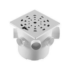 Caixa Sifonada PVC 150x150x40 Grelha Quadrada Branca - Ref. CS5 - ASTRA