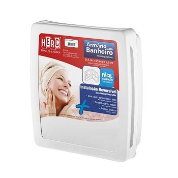 Armário Para Banheiro Polipropileno 37x34x10 Embutir ou Sobrepor Branco - Ref. 2650 - HERC