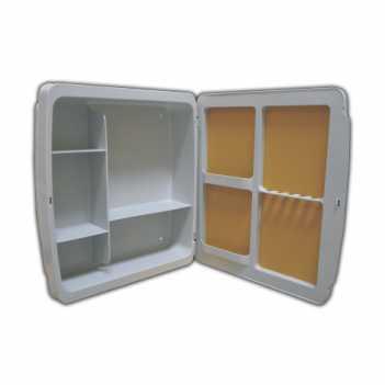 Armário Para Banheiro Polipropileno 37x34x10 Embutir/Sobrepor Cinza Escuro - Ref. 2652 - HERC