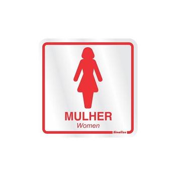 Placa De Alumínio 15x15cm Sanitário Feminino - Ref. 120AD - SINALIZE