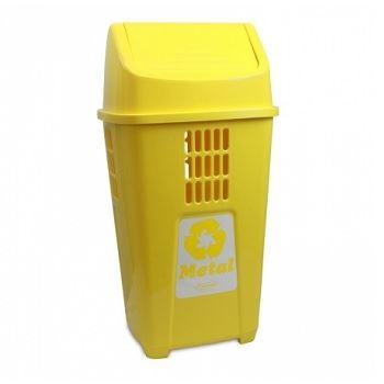 Lixeira Basculante 50 Litros de Plástico Seletiva Metal Amarela - Ref. 757AM1515 - PLASVALE