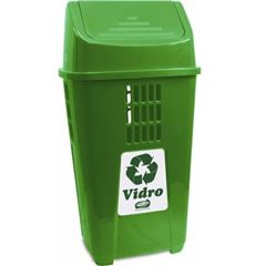 Lixeira Plástica 50 Litros Basculante para Coleta Seletiva de Vidro Verde - Ref.757VD5363 - PLASVALE