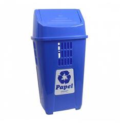 Lixeira Plástica 50 Litros Basculante para Coleta de Seletiva de Papel Azul - Ref. 757AZ2305 - PLASVALE