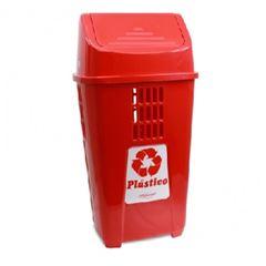 Lixeira Basculante 50 Litros de Plástico Seletiva Plástico Vermelho - Ref. 757VM3611 - PLASVALE