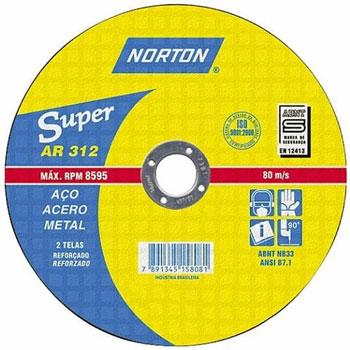 Disco de Corte 4.1/2 Polegadas Aço 2 Telas Super AR312 - Ref.66252842856 - NORTON