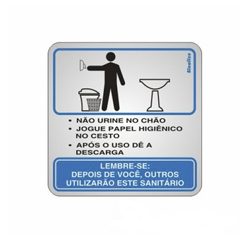 Placa De Alumínio 15x15cm Sanitário - Ref. 120AJ - SINALIZE