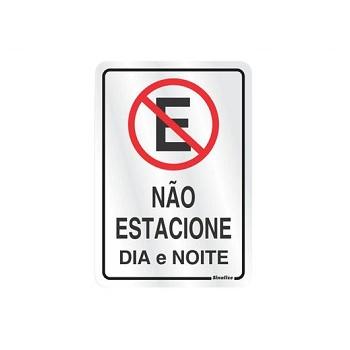 Placa De Alumínio 16x23cm Não Estacione Dia/Noite 150AC - Ref. 150AH - SINALIZE