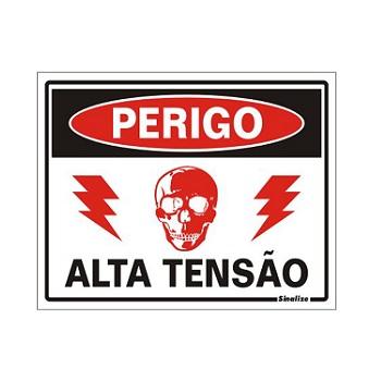 PLACA PVC 15X20CM PERIGO ALTA TENSAO SIN