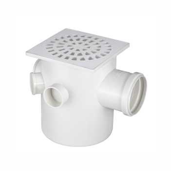 Caixa Sifonada PVC N17 150x185x75 Grelha Quadrada - Ref.0916 - KRONA