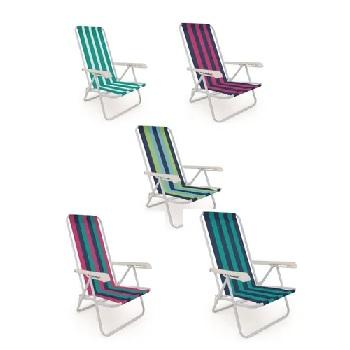 Cadeira de Praia em Aço 4 Posições Reclinável Cores - Ref.002004 - MOR