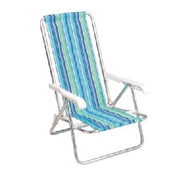 Cadeira Aluminio Praia 4 Posiçoes Reclinavel - Ref. 002103 - MOR