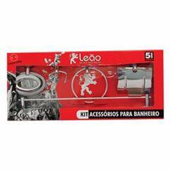 Kit Acessórios Banheiro Aço/Alumínio 5 Peças Júnior 15300 - Ref. 2442-0 - LEÃO METAIS