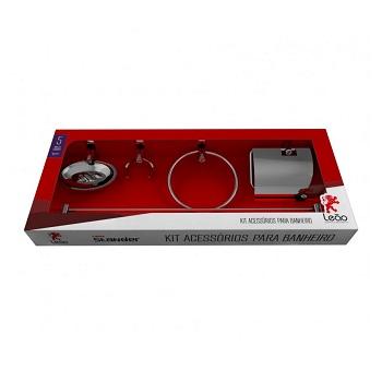 Kit Acessórios Banheiro Aço/Alumínio 5 Peças Stander 17300 - Ref. 2419-0 - LEÃO METAIS