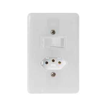 Interruptor 4x2 1 Tecla Simples+Tomada 2P+T 6A Stylus Branco - Ref.20200 - ILUMI