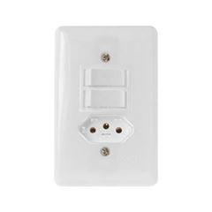 Interruptor 4x2 2 Teclas Simples+Tomada 2P+T 6A Stylus Branco - Ref.20210 - ILUMI