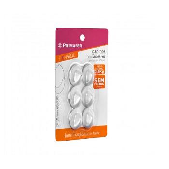 Gancho Plástico com Adesivo de Fixação Fácil 6 Peças Pequenas - Ref. 2501 - PRIMAFER