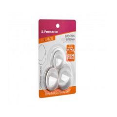 Gancho Plástico com Adesivo de Fixação Fácil 3 Peças Pequeno Médio e Grande - Ref. 2504 - PRIMAFER
