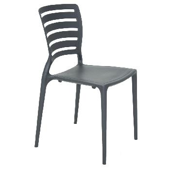 Cadeira de Polipropileno Sofia com Encosto Vazado Grafite - Ref.92237/007 - TRAMONTINA