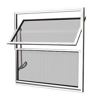 Basculante Alumínio 40x40 2 Folhas Vidro Canelado MCJBNTC001 - Ref. EMC001001 - QUALITY