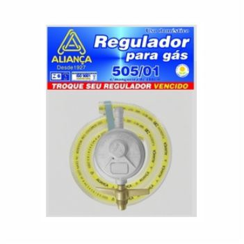 Regulador Gás Zamac Mangueira 120cm Pequeno 505 - Ref. 061784 - ALIANÇA
