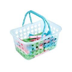 Cesto Plástico com 36 Prendedores Maxi - Ref.006072 - MOR