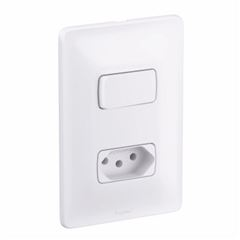 Interruptor 4x2 1T Simples+Tomada 2P+T 10A Zeffia Branco - Ref.680112 - PIAL