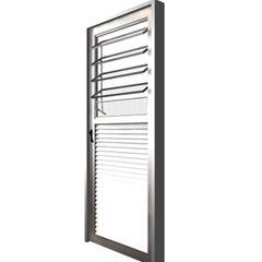 Porta Alumínio 80x210 Lado Direito Basculante Vidro Canelado MCPBNTC001 - Ref. EMC006006 - QUALITY