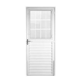 Porta Alumínio 80x210 Lado Esquerdo Postigo Vidro Canelado MCPPNTC002 - Ref. EMC008008 - QUALITY