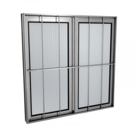 Janela Alumínio 100x100 2 Folhas Com Grade Vidro Canelado MCJCNTC013 - Ref. EMC003013 - QUALITY