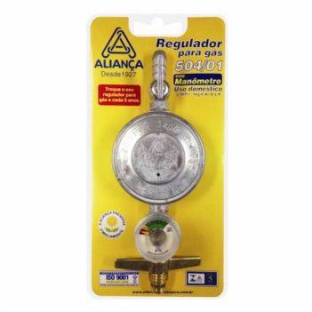 Regulador Gás Zamac Manômetro Médio 504 - Ref. 070939 - ALIANÇA