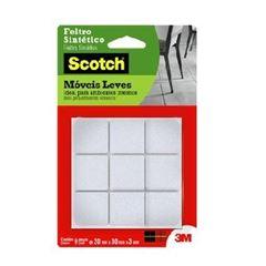 Feltro Adesivo Quadrado para Móveis com 9 Unidades Tamanho G Scotch Branco - Ref.HB004262588 - 3M