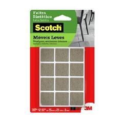 Feltro Adesivo Quadrado para Moveis com12 Unidades Tamanho P Scotch Marrom - Ref.HB004262661 - 3M