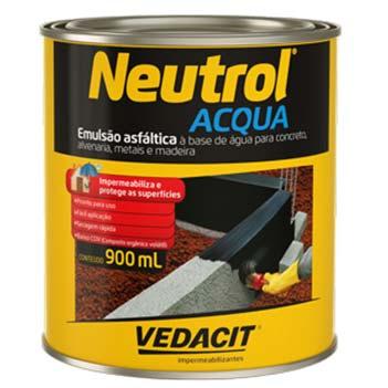 Tinta Betum 0,9 Litros Neutrol Acqua Base Água - Ref.121786 - VEDACIT