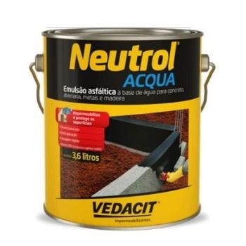 Tinta Betum 3,6 Litros Neutrol Acqua Base Água - Ref.121781 - VEDACIT