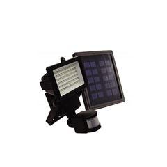 Refletor em Alumínio e ABS 60 LED Solar com Sensor de Movimentos Preto - Ref.9206 - ECOFORCE