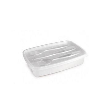 Porta Talher de Plástico com 3 Divisória com Tampa -Ref.004891 - PLASUTIL
