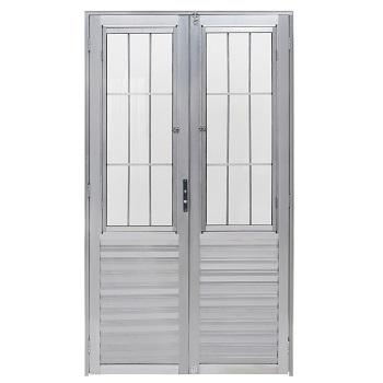 Porta de Alumínio com Postigo Duplo Giro Vidro Canelado 100x210cm Minha Casa MCPDPNTC001 - Ref.EMC008015 - QUALITY