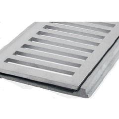 Grelha em Alumínio 10x100cm com Porta Grelha Reta Escovado - Ref.CJ10100E - LGMAIS