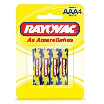 Pilha AAA Cartela com 4 Peças Palito Zinco Amarelo - Ref.10307 -  RAYOVAC